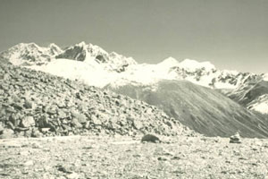View of Mt. Pauhunri 7125m (3rd peak from left of image) from region near Mome Samdong.