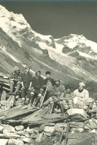 Sherpa members of expedition, including Miroslav Hruska, in Tanchen valley